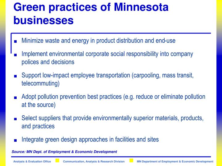 Green practices of Minnesota businesses