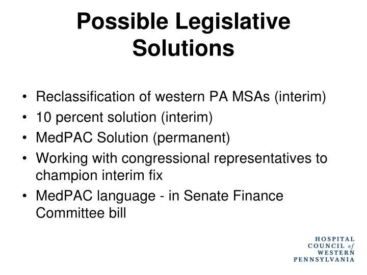 Possible Legislative Solutions