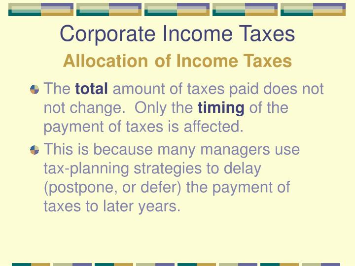 Corporate Income Taxes