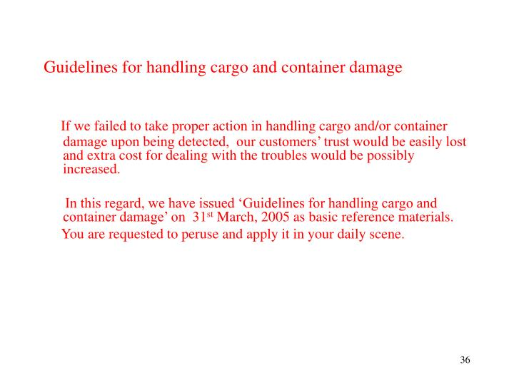 Guidelines for handling cargo and container damage