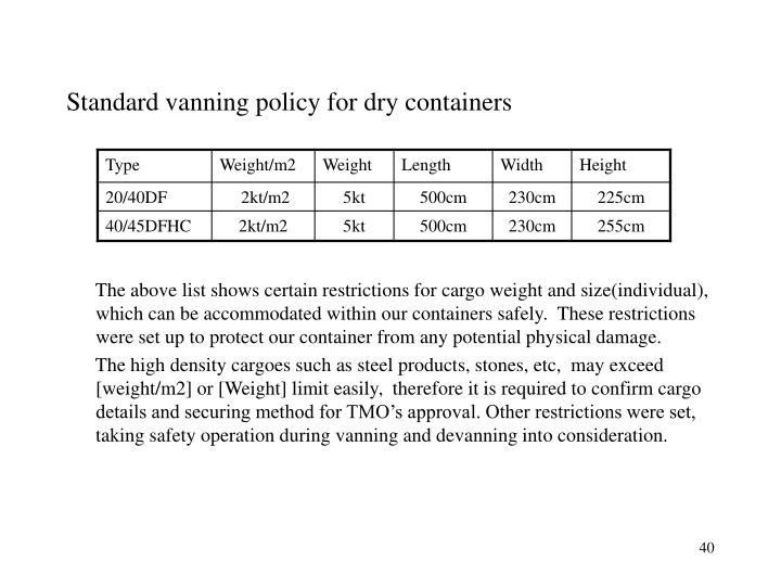 Standard vanning policy for dry containers