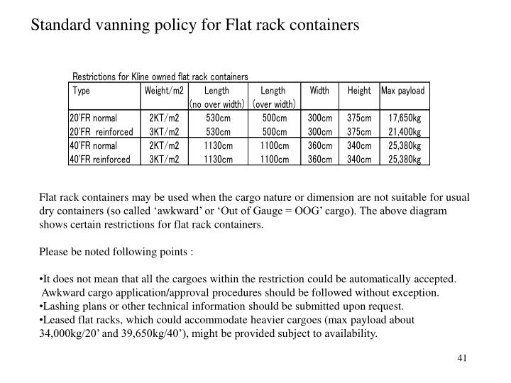 Standard vanning policy for Flat rack containers