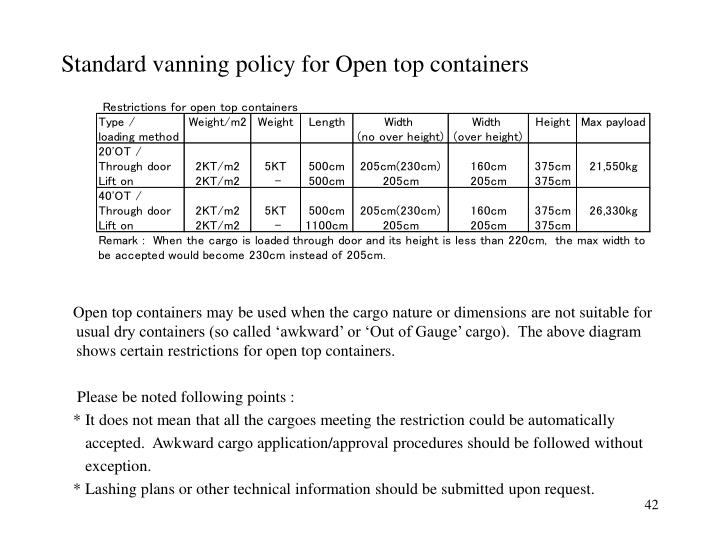 Standard vanning policy for Open top containers