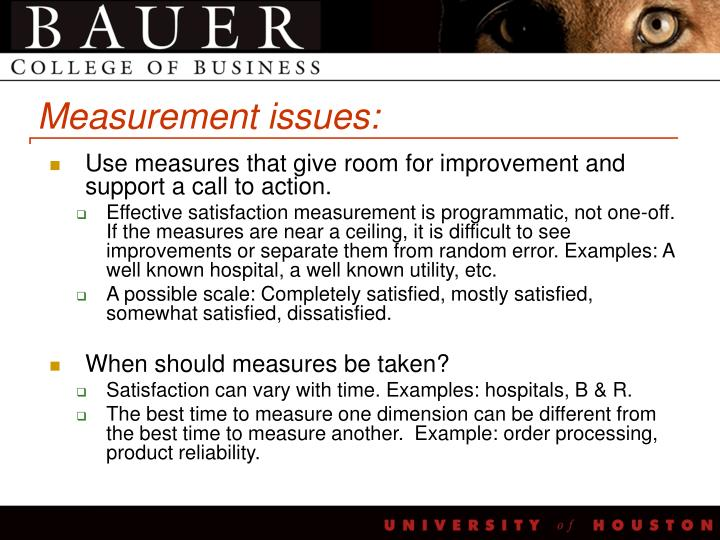Measurement issues: