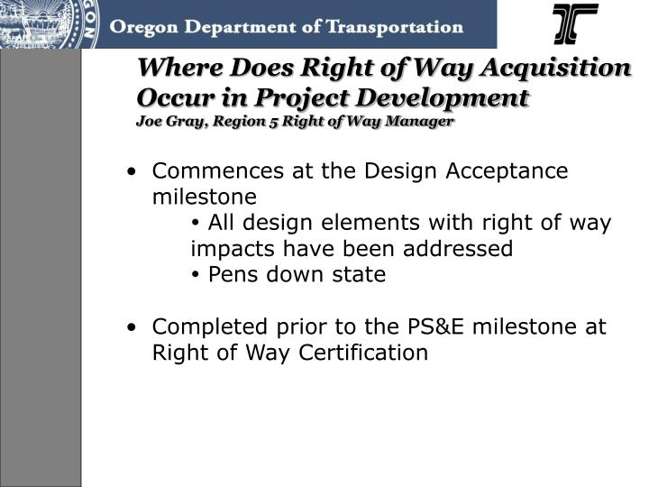 Where Does Right of Way Acquisition Occur in Project Development