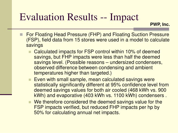 Evaluation Results -- Impact