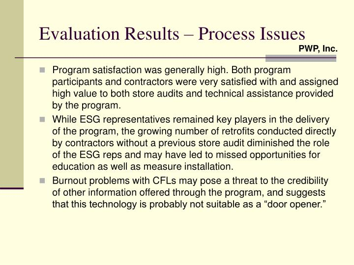 Evaluation Results – Process Issues