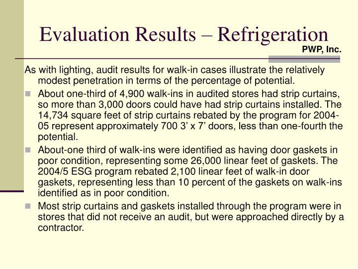 Evaluation Results – Refrigeration