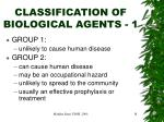 classification of biological agents 1