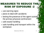 measures to reduce the risk of exposure 2