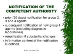 notification of the competent authority