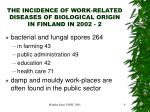 the incidence of work related diseases of biological origin in finland in 2002 2