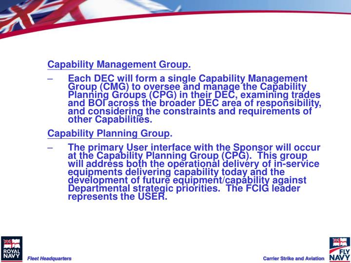 Capability Management Group.