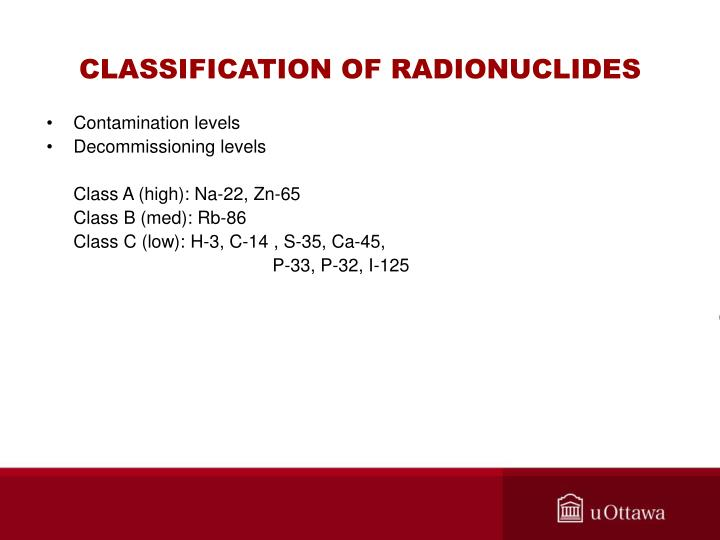 CLASSIFICATION OF RADIONUCLIDES