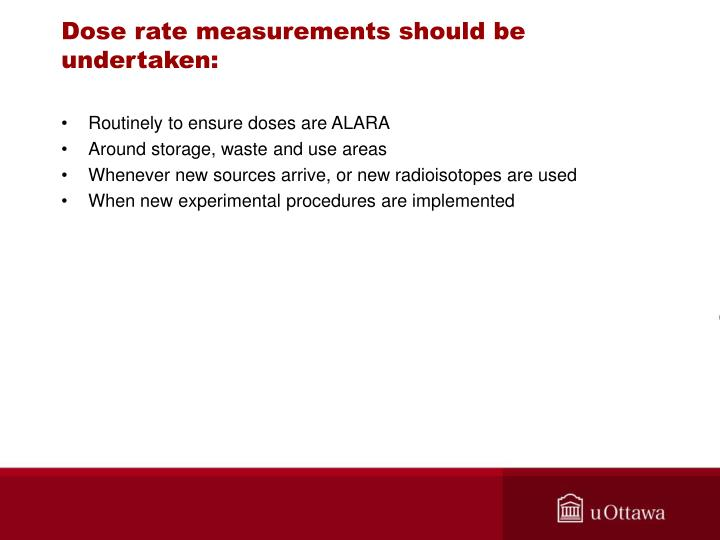 Dose rate measurements should be undertaken: