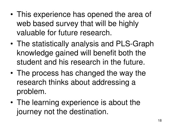 This experience has opened the area of web based survey that will be highly valuable for future research.