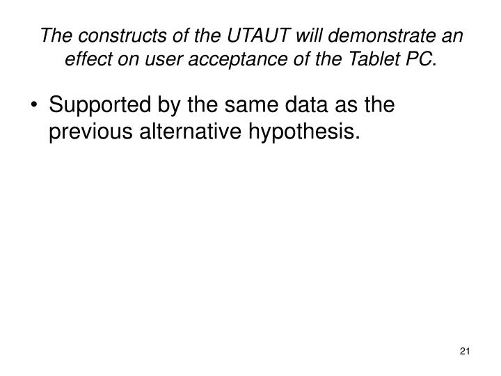 The constructs of the UTAUT will demonstrate an effect on user acceptance of the Tablet PC.