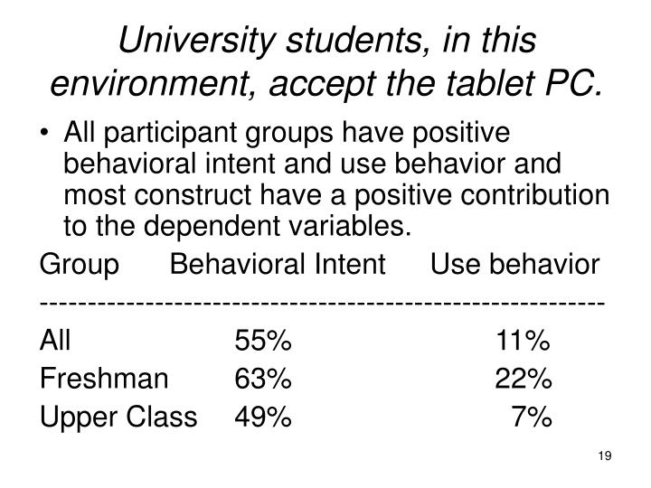 University students, in this environment, accept the tablet PC.
