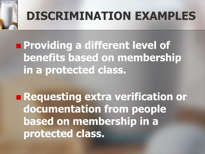 Providing a different level of benefits based on membership in a protected class.
