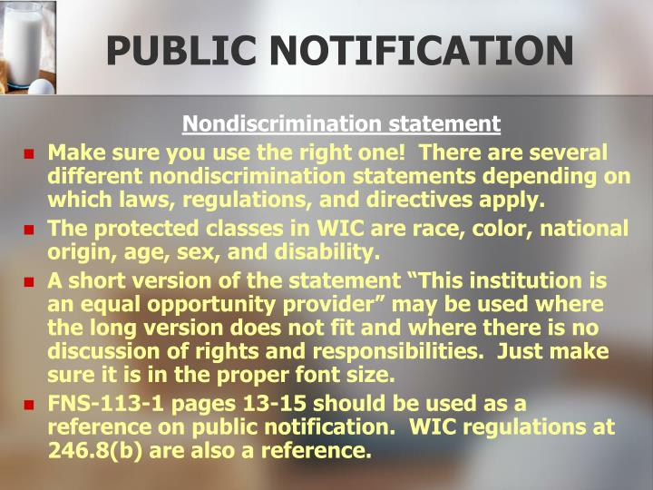 PUBLIC NOTIFICATION