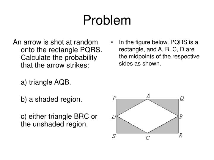 An arrow is shot at random onto the rectangle PQRS. Calculate the probability that the arrow strikes: