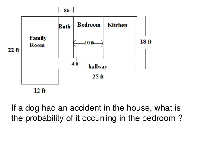 If a dog had an accident in the house, what is the probability of it occurring in the bedroom ?