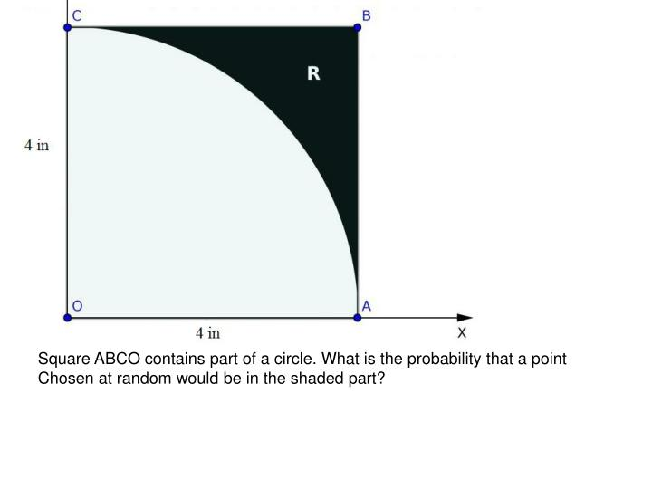 Square ABCO contains part of a circle. What is the probability that a point