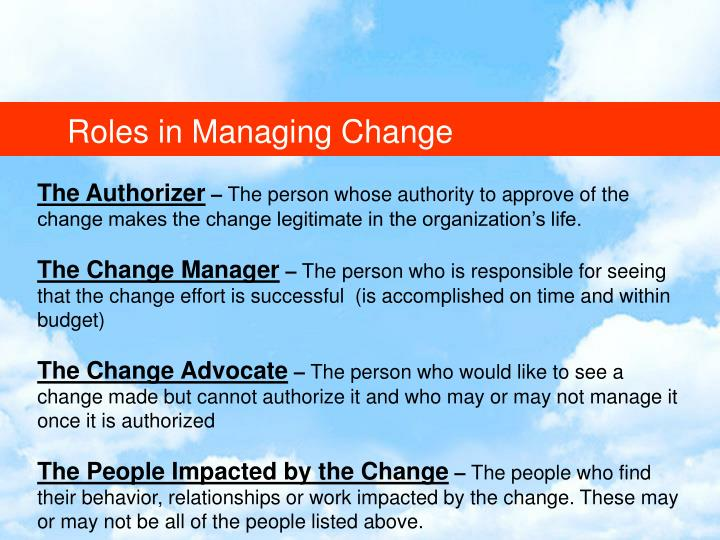 Roles in Managing Change