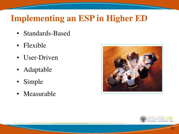 Implementing an ESP in Higher ED