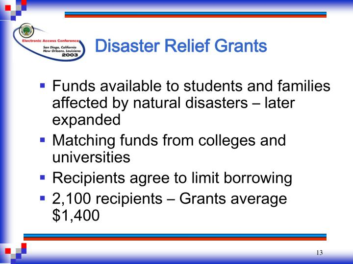 Disaster Relief Grants