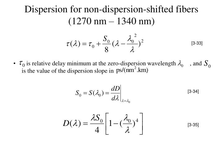 Dispersion for non-dispersion-shifted fibers