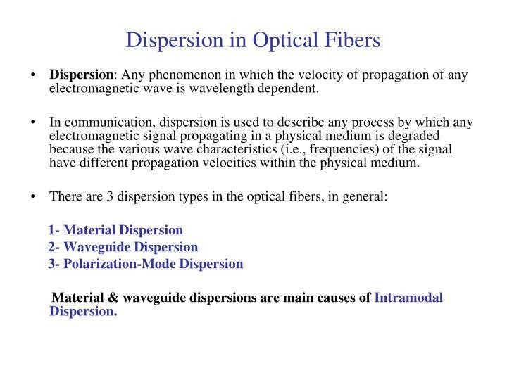 Dispersion in Optical Fibers