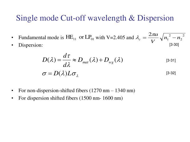 Single mode Cut-off wavelength & Dispersion
