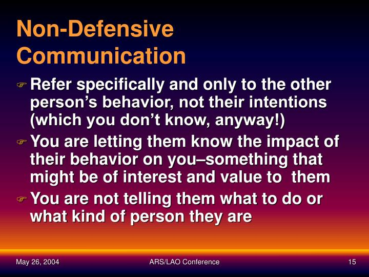 Non-Defensive Communication