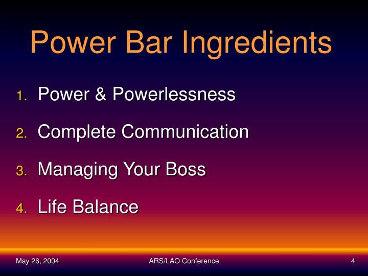 Power Bar Ingredients