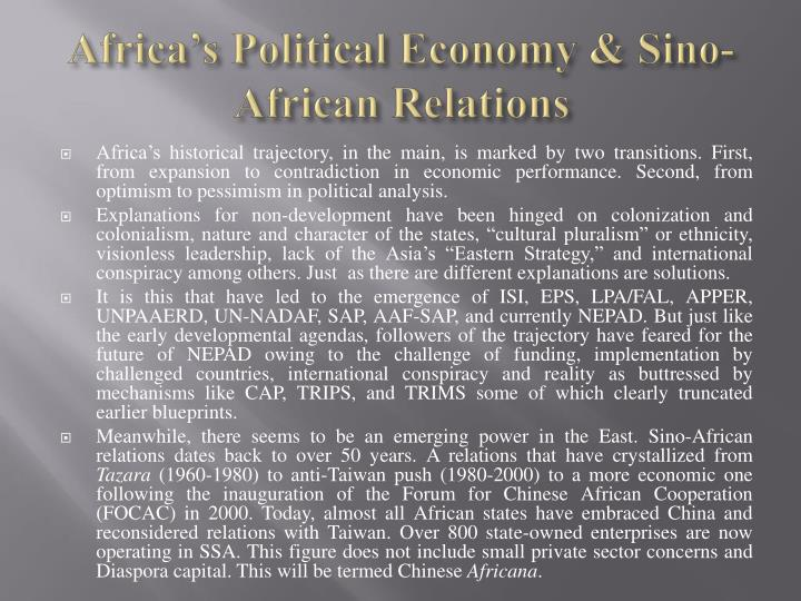 Africa's Political Economy & Sino-African Relations