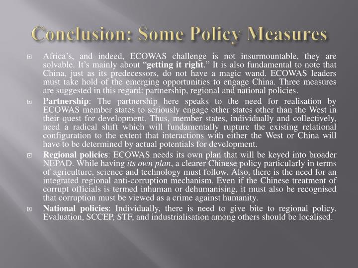 Conclusion: Some Policy Measures