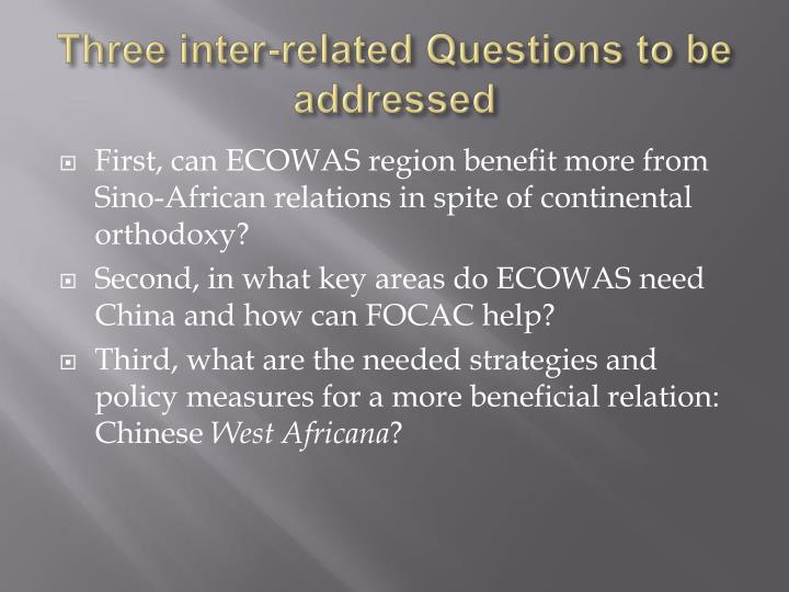 Three inter-related Questions to be addressed