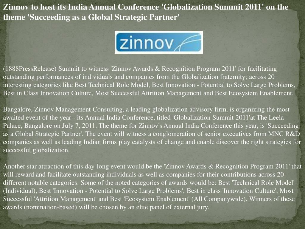 Zinnov to host its India Annual Conference 'Globalization Summit 2011' on the theme 'Succeeding as a Global Strategic Partner'