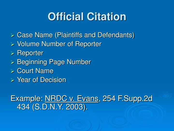 Official Citation