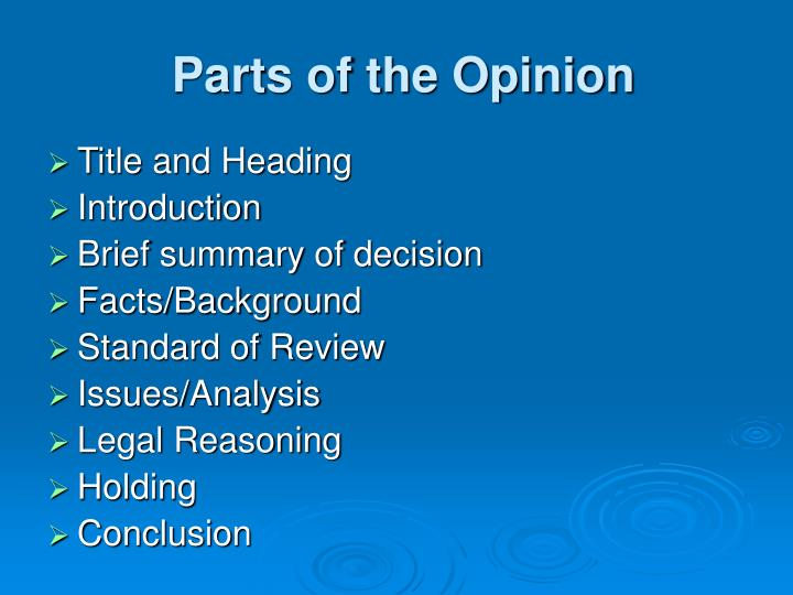 Parts of the opinion