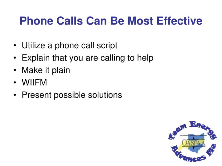 Phone Calls Can Be Most Effective