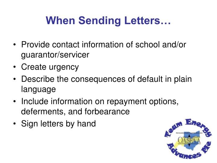 When Sending Letters…
