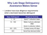 why late stage delinquency assistance makes sense