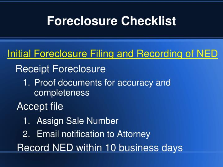 Foreclosure checklist2