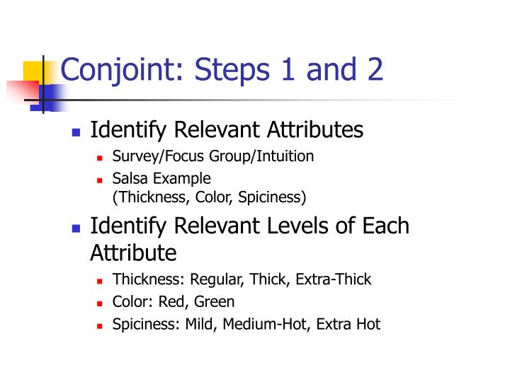 Conjoint: Steps 1 and 2