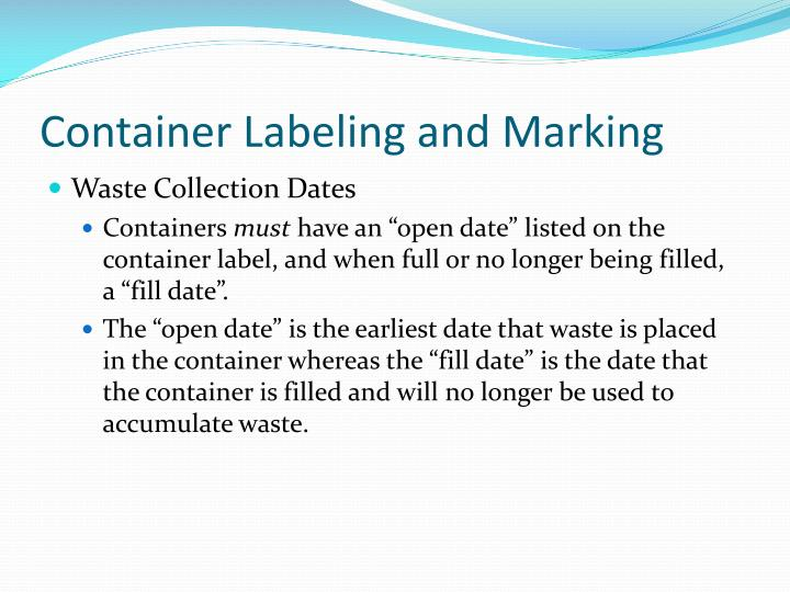 Container Labeling and Marking