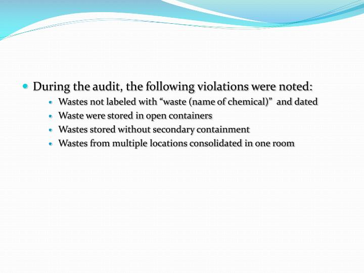 During the audit, the following violations were noted: