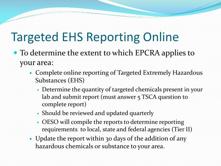 Targeted EHS Reporting Online