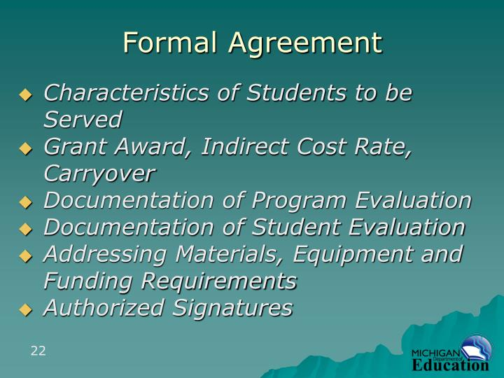 Formal Agreement